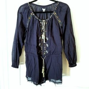 Urban Outfitters Embellished Boho Peasant Romper